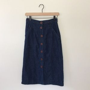 Denim Midi Skirt with Buttons